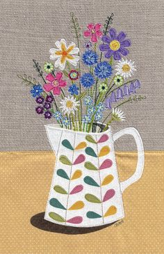 Floral fabric art work. A4 print of original textile illustration of flowers in a Orla Kiely jug. Applique and free motion embroidery. by DaysInDesign on Etsy https://www.etsy.com/listing/206425367/floral-fabric-art-work-a4-print-of