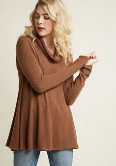 Cowl Neck Knit Top in Cocoa