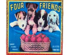 Handmade Coaster Four Friends Brand - Vintage Citrus Crate Label - Handmade Recycled Tile Coaster