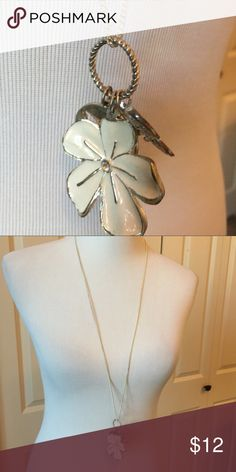 Long Silver Chain with Flower Charms Three dangling flower charms that come off the chain. Jewelry Necklaces