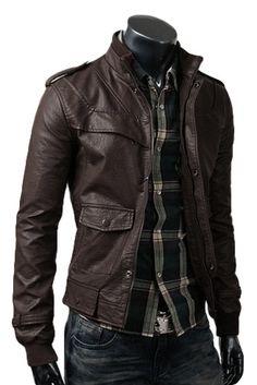 Slim Dark Brown Leather Jacket £111