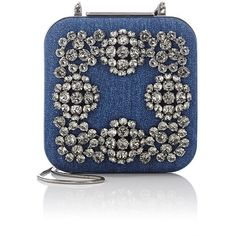 Manolo Blahnik Hangi Square Clutch ($1,925) ❤ liked on Polyvore featuring bags, handbags, clutches, blue, oversized purse, blue purse, strap purse, manolo blahnik and buckle purses