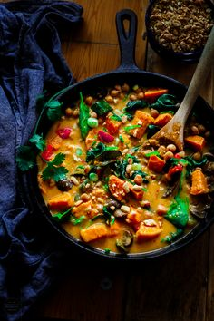 This vegan and healthy Thai Sweet Potato, Chickpea and Mushroom Curry is so wonderful, it is a perfect comfort food for the colder days. Chicken Soup Recipes, Veggie Recipes, Whole Food Recipes, Vegetarian Recipes, Cooking Recipes, Healthy Recipes, Veggie Meals, Sweet Potato Hash, Breakfast