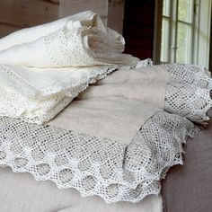DejavuLinen shared a new photo on Etsy - Luxury lace trimmed on 3 sides linen top sheets for shabby chic lovers. Twin Sheets, Linen Sheets, Linen Pillows, Flat Sheets, Linen Fabric, Linen Bedding, Shabby Chic Bed Linen, Luxury Bed Sheets, Diy Bett