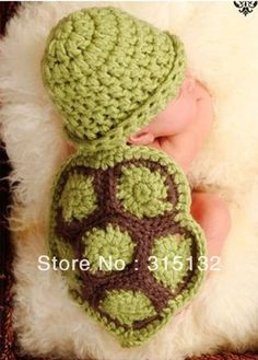 G014 Free shipping Newborn Baby Romper Photography Prop Green tortoise Handmade Crochet hat 0-3 Months $13.06