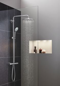 Find the right GROHE Shower that will fit your needs. Create your unique shower experience with GROHE showers, that come in all shapes, styles and sizes – each one designed with your satisfaction and enjoyment in mind. Bathroom Niche, Boho Bathroom, Bathroom Trends, Bathroom Faucets, Modern Bathroom, Bathroom Hardware, Bathrooms, Cute Shower Curtains, Ideas