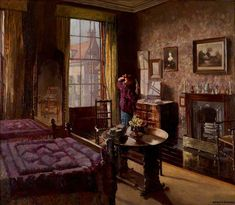 'I wish, he grumbled to himself, that everyone didn't have those blasted little single beds nowadays'. 'Bedroom With a Figure' by Mary Dawson Elwell, c. 1930