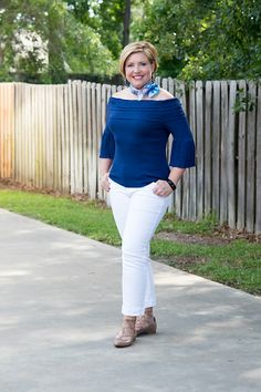 Savvy Southern Chic: Off shoulder top, white jeans, summer outfit, neck scarf