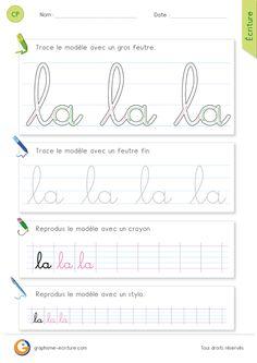 PDF Fiche Exercice en Écriture pour apprendre à écrire l'article la en cursive CP CE1. Comment procéder pour écrire l'article la en cursive?