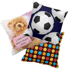 Decorative Throw Pillows For Kids Rooms. Patterns, sports and animals too. Options to personalize many them. Girls Boys all children