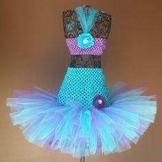 Turquoise and Purple Mermaid inspired Tutu Dress, Birthday,newborn flower girl,ballerina,photo prop,costume, infant, baby, toddler, girl