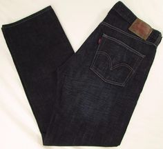 Levis Levi's 501 Red Tab Jeans Relaxed Straight Leg Button Fly Dark Wash 36 X 32 #Levis #RelaxedStraightLeg