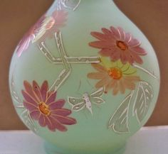 """SMALL Antique VASELINE Glass VASE 6.5"""" HP FLYING INSECT & FLOWERS Museum Quality"""
