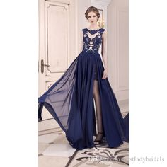 2015 Modest Navy Blue Prom Dresses Detachable Skirt Two Piece Sheer Evening Gowns Removeable Cap Sleeves Appliques Lace Dress For Women