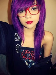 purple hairstyle