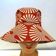 Retro Sun Hat in Burnt Orange Pinwheel Linen  by bonniesknitting, $55.00