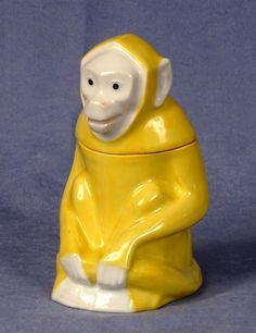 Rare Beautiful Haviland Sandoz, Yellow Monkey Tobacco Humidor
