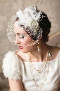 "Glamorous ""Vintage"" Style Net Birdcage Veil + Feather Beaded Crystal Fascinator"