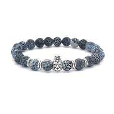 Crown Lion Natural Stone Beaded Bracelet