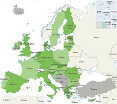 Alles over Europa: mooie kaart, klik op 'volledig scherm openen' en je krijgt de vergrote versie van de landen van Europa, de landen met de euro, de landen die wensen toe te treden,...