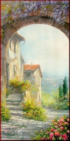 ✿Flower At The Door & Window✿ Antonietta Varallo Watercolor Landscape, Landscape Art, Landscape Paintings, Watercolor Paintings, Watercolours, Pictures To Paint, Art Pictures, Beautiful Paintings, Painting Inspiration