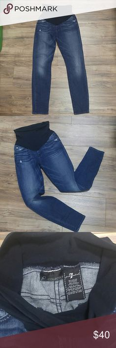 7 for All Mankind P Collection size 27 skinny jean Size 27 full belly panel  maternity jeans. Distressed and faded look. Size tag was cut out. Inseam 7 For All Mankind Jeans Skinny