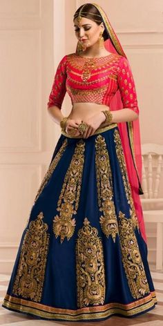 Ravishing Blue Georgette Lehenga Choli With Dupatta.