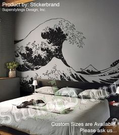 Stickerbrand Asian Décor Vinyl Wall Art Japanese Hokusai Great Wave Wall Decal Sticker - Black, x Easy to Apply & Removable. Design, Art Wall, Decal Wall Art, Wall Drawing, Wall Graphics