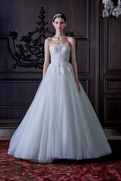 """Monique Lhuillier Spring 2016 Bridal Collection   """"Roma"""" -- Beautiful, Soft Baby Blue A-Line Bridal Ball Gown Featuring A Pretty Lace & Lace Appliquéd Strapless Bodice, Silk Tulle Skirt^^^^"""