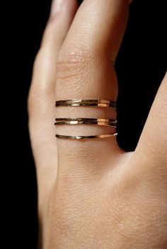 Ultra Thin Gold Filled stacking rings set of 5. $34.00, via Etsy.