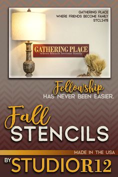 "Create unique FALL DIY wood signs the EASY way! Reusable mylar stencils make word signs simple to paint. Hundreds of Autumn and Fall designs to choose from | Money-back Guarantee | SHIPS IN 24 BUSINESS HOURS | Use this ""Gathering Place Where Friends Become Family"" stencil by StudioR12 to create wall art, wood signs, rugs, & other decor! This sign would make the perfect housewarming gift for mom, sister, friend, or neighbor. Perfect for Thanksgiving. Check out the Fall Collection using this…"
