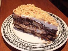 Lovely dessert with wafer and hazelnut praline! Greek Sweets, Greek Desserts, Party Desserts, Greek Recipes, Sweets Recipes, Cooking Recipes, Greek Pastries, Armenian Recipes, Icebox Cake