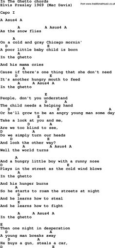Song Lyrics with guitar chords for In The Ghetto