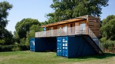 artikul architects stacks shipping container hotel in the czech republic Container Hotel, Container Shop, Building A Container Home, Container Cabin, Container Buildings, Container Architecture, Container House Design, Home Design Plans, Plan Design