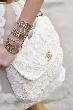 Chanel 2015, white lace Chanel bag