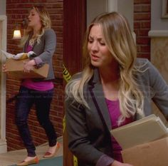 Penny's grey blazer and capped flats on The Big Bang Theory