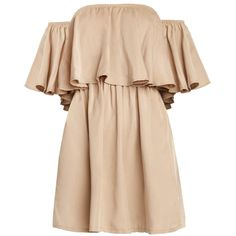 Khaki off The Shoulder Dress (655 GTQ) ❤ liked on Polyvore featuring dresses, vestidos, robe, babydoll dress, off-the-shoulder ruffle dresses, off the shoulder ruffle dress, off the shoulder flounce dress and baby doll dress