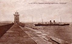 Steamer Passing Holyhead Lighthouse0