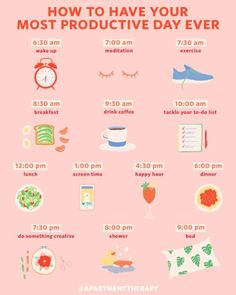 An Hour-by-Hour Roadmap to Your Most Productive Day Ever If your daily routine c. An Hourly Roadmap to Your Most Productive Day Ever If your daily routine could be tweaked a bit, you'll find a science-based template here. Wellness Tips, Health And Wellness, Health Fitness, Mental Health, Brain Health, Fitness Plan, Love Sweat Fitness, Wellness Plan, Daily Health Tips