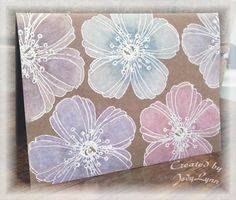 "By Jody Lynn (jodylb at Splitcoaststampers). Flowers stamped in VersaMark and embossed in white. Colorbox Frost White used to color flowers white all over; let dry. Then Ranger Distress Markers used to add color over the white ink. Stamp is Stampendous Fresh Bloom. I could use the flower from Stampin' Up's  ""Secret Garden"" set for this card."