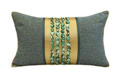 元熙壹品现代新古典法式风格/样板房/祖母绿拼光绿色贝壳装饰枕