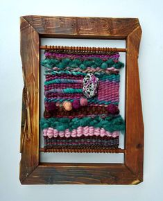 Beachcombed: Handwoven tapestry wall hanging // framed //