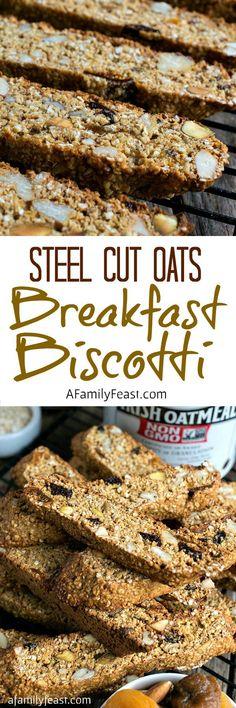Steel Cut Oats Breakfast Biscotti - A hearty, delicious breakfast biscotti chock full of nuts, dried fruit and McCann's Steel Cut Irish Oatmeal.