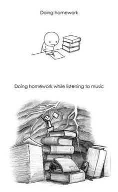 Funny pictures about Doing homework. Oh, and cool pics about Doing homework. Also, Doing homework photos. Stupid Funny Memes, Funny Relatable Memes, Hilarious, Funniest Memes, Pantone Cards, Do Homework, Listening To Music, Music Music, Rock Music