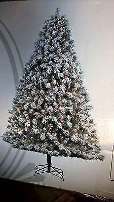 NEW 7.5 ft Snow Country Green Flocked Pine Pre Lit Christmas Tree CLEAR Lights