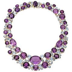 Verdura Amethyst Aquamarine Gold Necklace