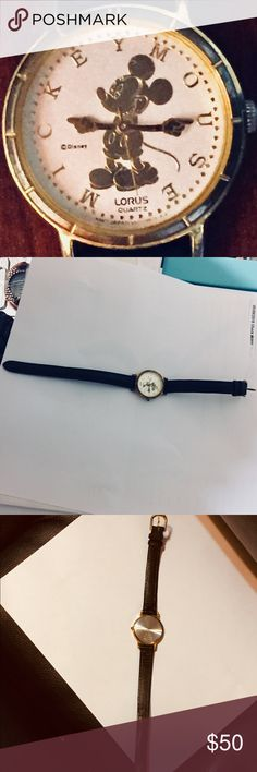 Lotus Micky Mouse gold quartz watch & leather band This adorable Micky watch has a gold letters spelling his name instead of numbers on dial. The the band is genuine leather. Needs battery Lorus Accessories Watches