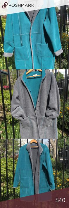 Suzan Graver Reversible Teal & Grey Jacket/QVC/Hit This Susan Graver turquoise and gray reversible jacket is the most popular of the grave coats. It's sold out within an hour on QVC. Very soft and the lovely trim detailing makes it look like you truly have two lovely coats. Size large Suzan Graver Jackets & Coats Trench Coats