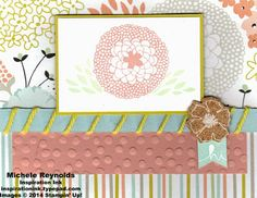 Swap received from Jeannette Pessaro and Beth Shepherd using Stampin' Up! products - Petal Parade Set, Sweet Sorbet Designer Series Paper, Decorative Dots Embossing Folder, Sweet Sorbet Accessory Pack, Banner Blast Set, and Banner Punch.
