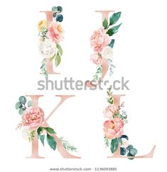 Floral Alphabet Set - letters Q, R, S, T, with flowers bouquet composition. Unique collection for wedding invites decoration and many other concept ideas. - Buy this stock illustration and explore similar illustrations at Adobe Stock Watercolor Texture, Watercolor Flowers, Monogram Painting, Stencil Font, Flower Circle, Flower Letters, Unicorn Art, Letter I, Frame Wreath